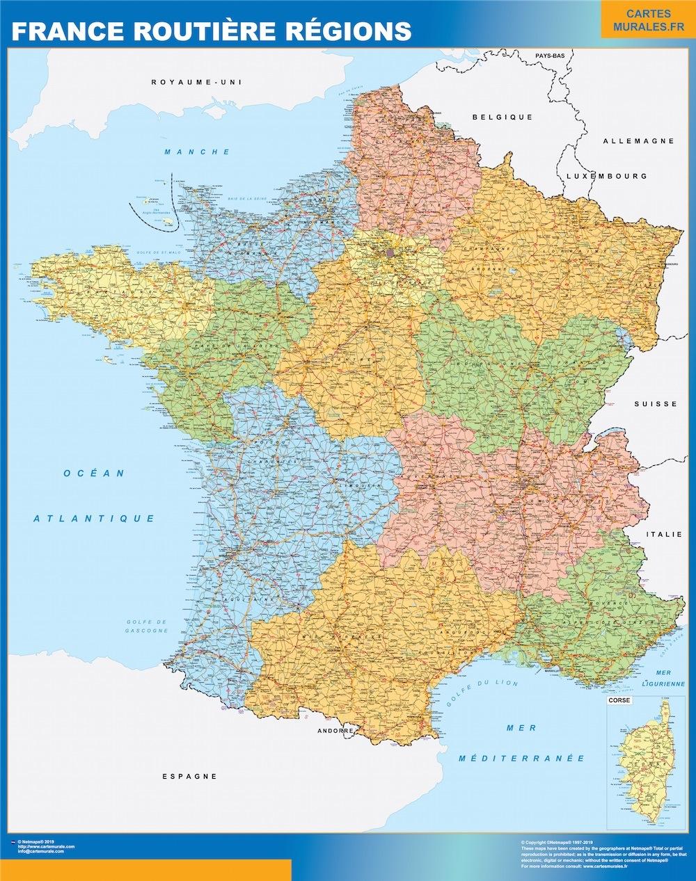 Frankrike Karta Vaggkartor