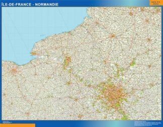 Ile De Frankrike Normandie Laminerade Karta Vaggkartor Over