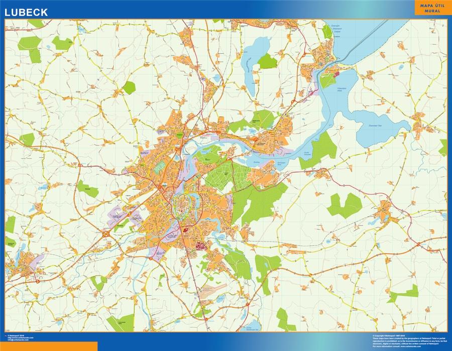 Lubeck Karta I Tyskland Vaggkartor