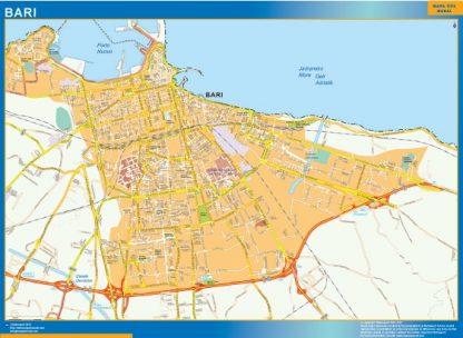 Karta Over Bari Stad I Italien Vaggkartor