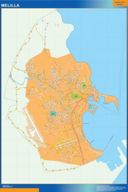 Karta Over Melilla Spanien Vaggkartor