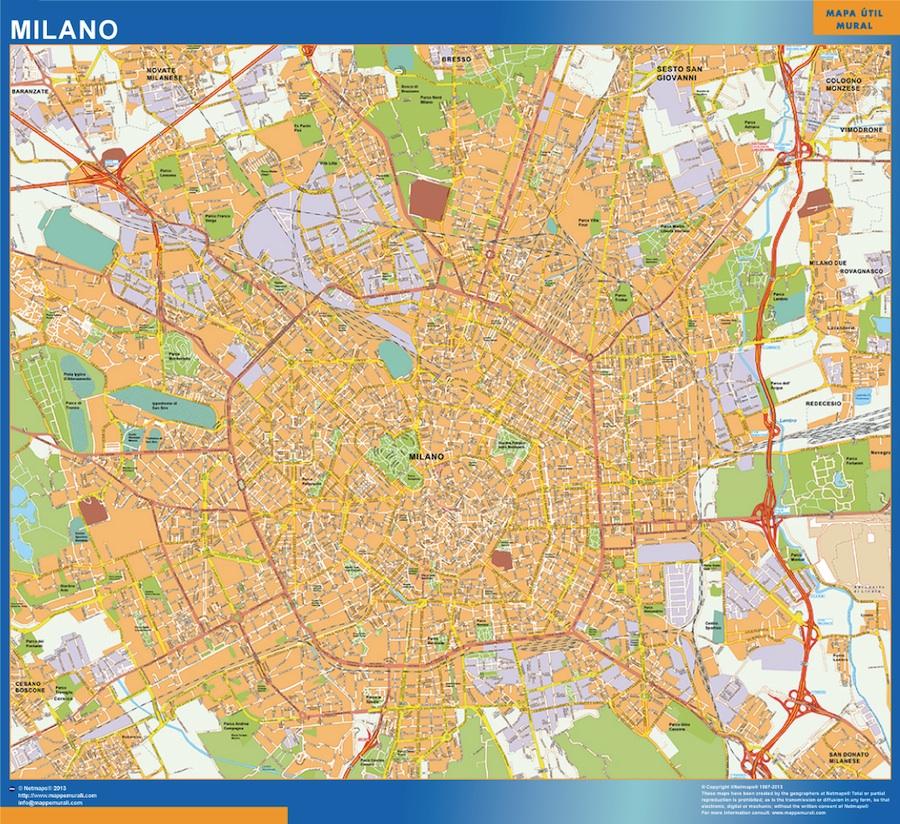 Karta Over Milano Stad I Italien Vaggkartor