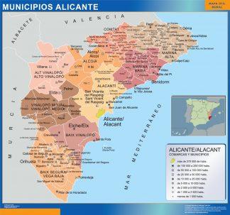 Kommuner Alicante Karta Fran Spanien Vaggkartor Over Varlden Och