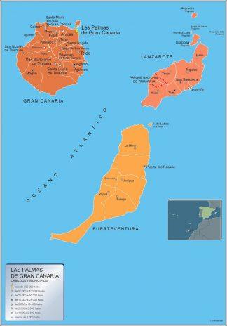 Kommuner Las Palmas Gran Canaria Karta Fran Spanien Vaggkartor