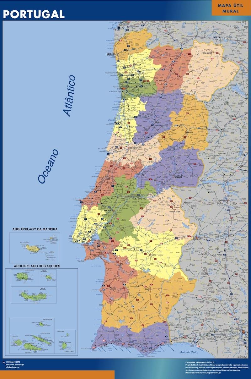 Portugal Karta Vaggkartor