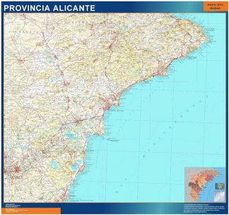 Provins Alicante Karta Fran Spanien Vaggkartor