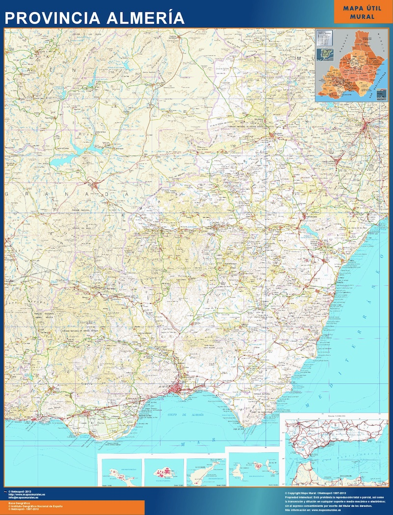 Provins Almeria Karta Fran Spanien Vaggkartor